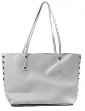 Y-B6.1 BAG417-002D PU Shopper with Golden Metal Studs 40x25x12cm Grey