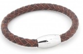 B105-004 Leather Bracelet with Stainless Steel Lock 21cm Brown