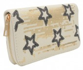 R-B6.2  WA117-006 Wallet with Sequins and Stars 19x10cm White
