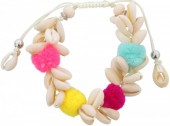 B-A21.6 B009-012 Boho Bracelet with Shells and Pompom