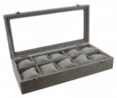 Y-C5.1 Display Box for Watches and Bracelet with Glass Top 39x18.5x7.5cm Grey Velvet