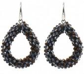F-D19.3  E007-001I Facet Glass Beads 4.5x3.5cm Grey-Copper