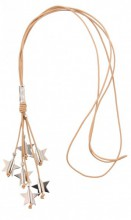 C-D18.4 Brown Leather Necklace with Metal Stars 85cm
