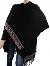 T-J2.1 Soft Poncho with Aztek Print Black