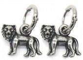 A-E4.5 E007-002 S. Steel 10mm Earring with 16mm Lion Silver