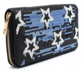 Q-A7.2 WA117-006 Wallet with Sequins and Stars 19x10cm Black