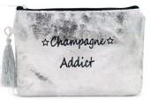 BAG520-001B Clutch With Tassel Champagne Addict 18.5x13cm Silver