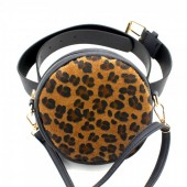 Z-E2.4 BAG212-001 Combination Bum-Shoulder Bag Leopard incl Belt 14x14x6cm Black-Brown