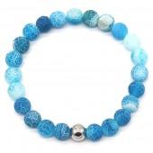 A-A7.4 B2121-001 Cracked Agate Bracelet Blue