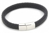 F-B10.1 B105-002 Leather Bracelet with Stainless Steel Lock 21cm Black