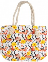 T-A7.2 BAG217-002 Striped Beach Bag with Flamingos 43x34cm