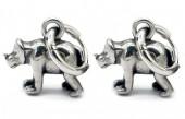A-D7.1 E007-006 S. Steel 10mm Earring with 16mm Rhino Silver