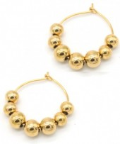 B-C5.7  E1850-008 Stainless Steel Earrings with Balls 2.5cm Gold