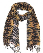 Z-A2.5 SCARF405-024C Sof Scarft With Animal Print 180x70cm Brown