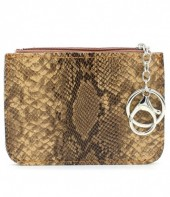 K220-006 Keychain Wallet Snakesking with Creditcard Pocket 12x9cm Brown