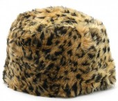 Q-H3.2  H009-001 Fluffy Fake Fur Hat with Leopard Print Brown