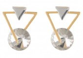 C-E3.5 E019-010 Geometric Crystal Earrings Gold White 1.5x2cm