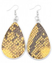 C-C2.1 E220-010 Metal Earrings with PU Snakeskin 7x3.5cm Orange