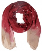 X-D3.1 S107-002 Scarf with Stars 85x180cm Red
