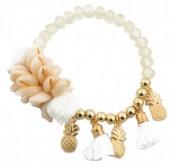 H-B15.2 B021-003 Bracelet with Shells-Tassels-Pineapples Gold-White
