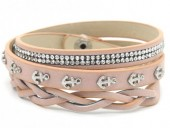 H-E16.1 B016-003 Wrap Bracelet Crystals-Anchors 56-60cm Pink