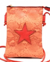 T-O2.2 BAG326-001 PU Festival Crossbody Bag Snake with Star 20x15cm Red