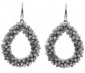 F-A7.5 E007-001P Facet Glass Beads 4.5x3.5cm Grey-Multi