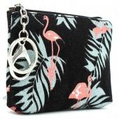 S-A2.2 WA1202-027 Keychain Wallet Flamingo 14x10cm Black