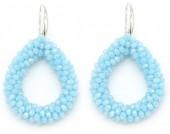 C-C22.3 E007-001 Facet Glass Beads 4.5x3.5cm Light Blue