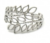 H-D5.1 R110199S S. Steel Ring Leaves Adjustable Silver