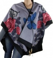 Z-F8.3  Soft Poncho with Feather and Butterflies Black-Purple
