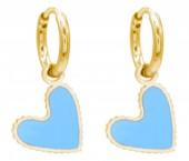 C-D6.1 E221-205G S. Steel Earrings Heart 1x2cm Blue-Gold