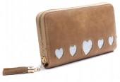 Q-L7.2 WA009-003 Wallet With Glitter Hearts and Tassel 19x10cm Brown