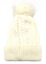 T-H6.2 HAT003-003C Hat with Fake Fur Pompon White