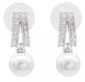 B-F4.3 E101-005 Luxury Earrings with Cubic Zirconia and Glass Pearl