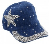 S-H5.1 Cap Fake Fur with Crystals and Star Blue