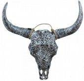 Z-F5.1 Polyester Buffalo Skull with Engravings 46x40cm Silver-Black