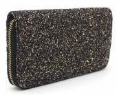 Q-F7.2 WA117-001 Glitter Wallet 19x10cm Black