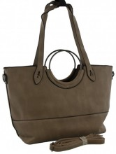 Z-B2.3 BAG016-002 Grey Exclusive PU Shopper Bag 46x30x16cm