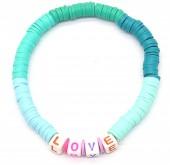 E-E3.2 B536-103C Elastic Bracelet LOVE Blue