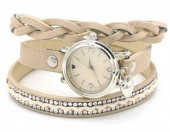 E-D8.6 WA1202 PU Wrap Watch with Crystals Khaki