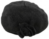 Z-D2.1  Woolen Hat with Flower Dark Grey