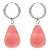 A-B4.1 E2121-057S S. Steel Earrings 3x1cm Peach Stone