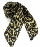 H415-003B Hair Scarf with Leopard Print 100x5cm Brown
