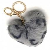 S-C6.4 KY414-001E Fluffy Keychain 10cm Heart Leopard Grey