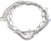 A-E18.4 B014-009S S. Steel Layered Bracelet Cross Silver