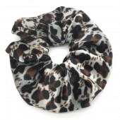 S-H5.3 H305-021G Velvet Scunchie with Animal Print Brown