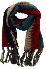 Y-D6.2 Knitted Scarf with Fringes Color Blocking Multi Color 50x180cm