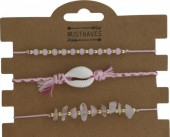 H-A5.4 B019-003 Bracelet Set 3 pcs with Shell and Stones Pink