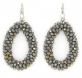 B-B15.3 E007-001 Grey-Gold Facet Glass Beads 4.5x3.5cm